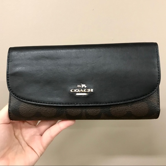 Coach black and brown monogram leather wallet